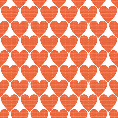 vector background,  seamless pattern with brick wall hearts, geometric design, vector illustration