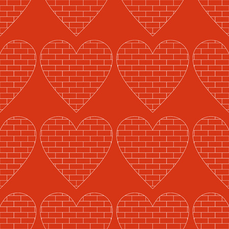 vector background,  seamless pattern with brick wall hearts, geometric design, vector illustration Vector
