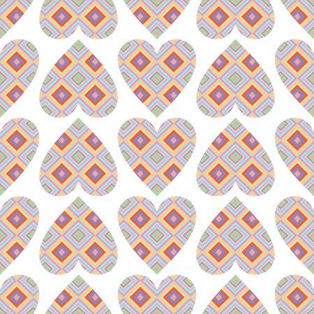 violet red: vector background,  seamless pattern with  red; violet; blue; pink  hearts, geometric design, vector illustration Illustration