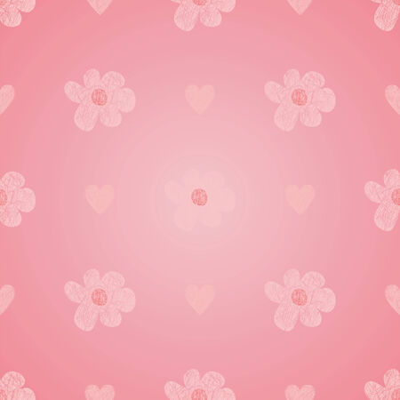 vector background with pink flowers and hearts, geometric design, vector illustration