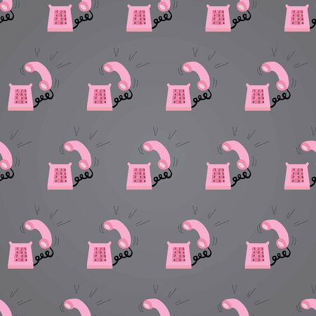 vector background, seamless pattern with pink ringing telephone, geometric design, vector illustration