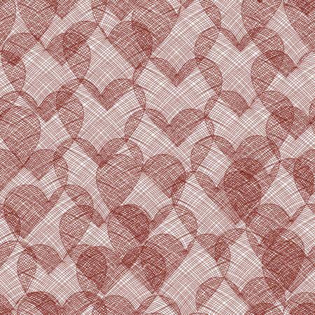 vector background with red hearts, geometric design, vector illustration