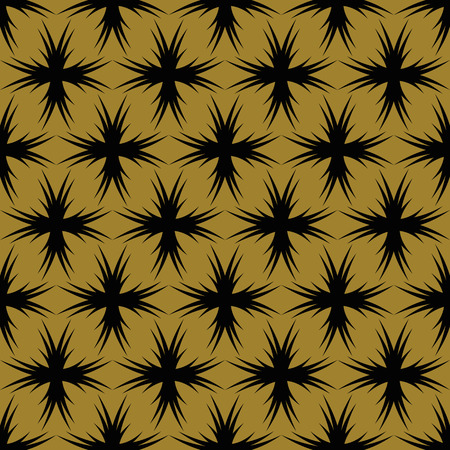 vector background, seamless pattern with black and yellow elements, geometric design, vector illustration Vectores