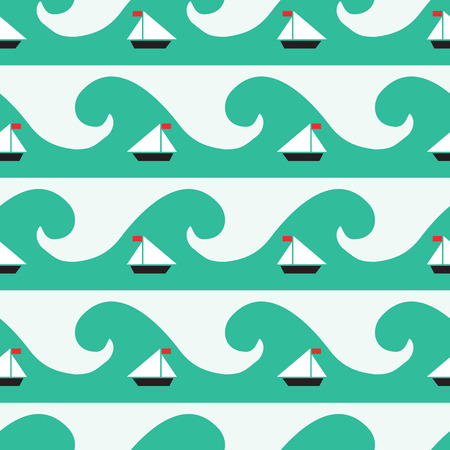 seamless pattern with sea ship and wave elements, geometric design