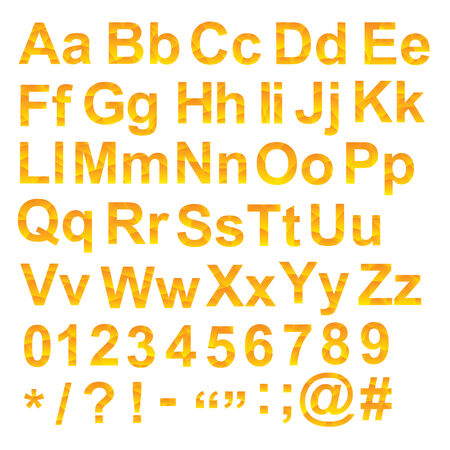 Alphabet set, unusual gradient yellow color, with letters numbers and signs, geometric design