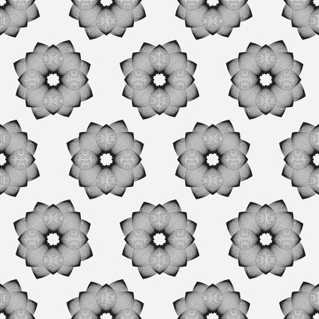 vector background, unusual seamless pattern with  black and white flowers, geometric design, vector illustration Ilustração