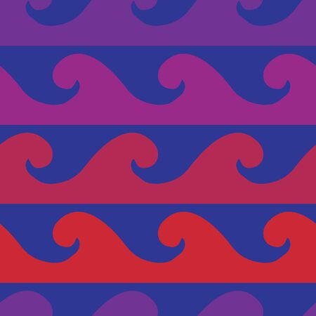 vector background, seamless pattern with blue, violet, pink and red wave elements, geometric design, vector illustration