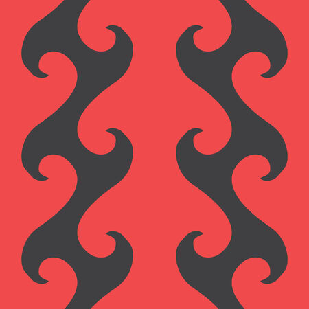 vector background, seamless pattern with red and black wave elements, geometric design, vector illustration Vectores