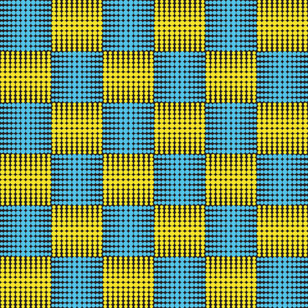 black and yellow: vector background, seamless pattern with black, yellow and blue elements, geometric design, vector illustration Illustration