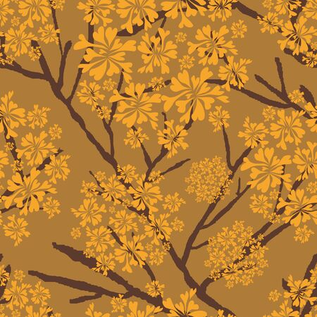 vector background, unusual seamless pattern with  yellow and brown floral elements, geometric design, vector illustration Illustration