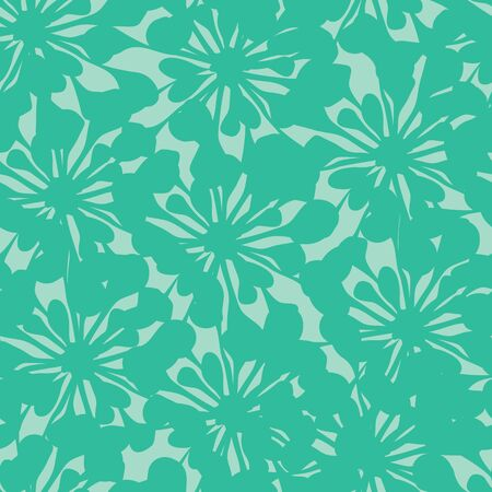 vector background, unusual seamless pattern with  turquoise floral elements, geometric design, vector illustration