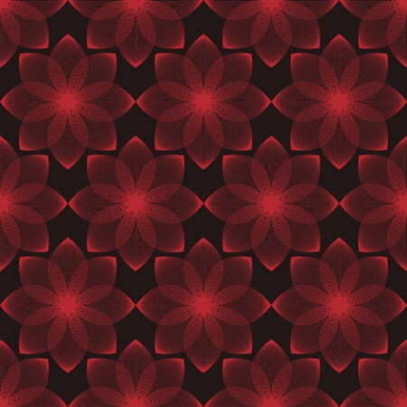 vector background, unusual seamless pattern with  black and red floral elements, geometric design, vector illustration