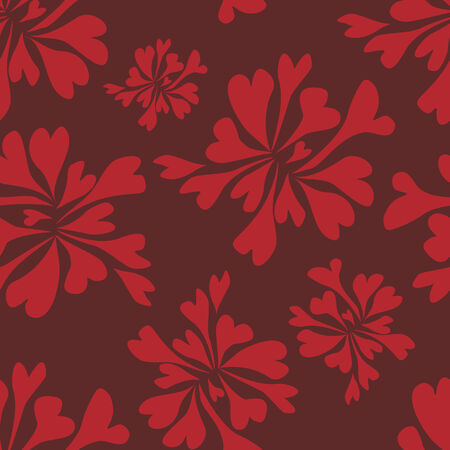 vector background, unusual seamless pattern with red floral elements, geometric design, vector illustration Illustration