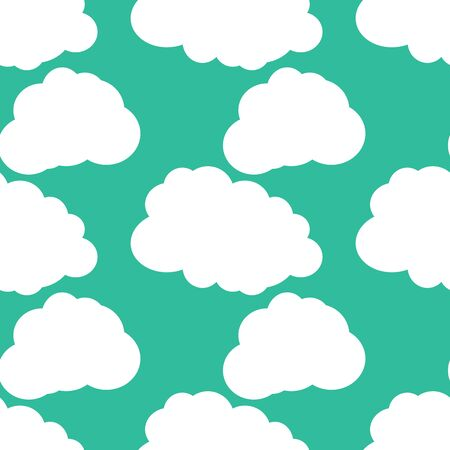 vector background, unusual seamless pattern with turquoise backdrop and white clouds, geometric design, vector illustration
