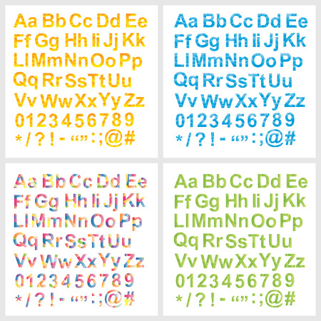 Vector Alphabet set, unusual gradient blue, red, yellow, orange, pink, violet colors, with letters numbers and signs, geometric design