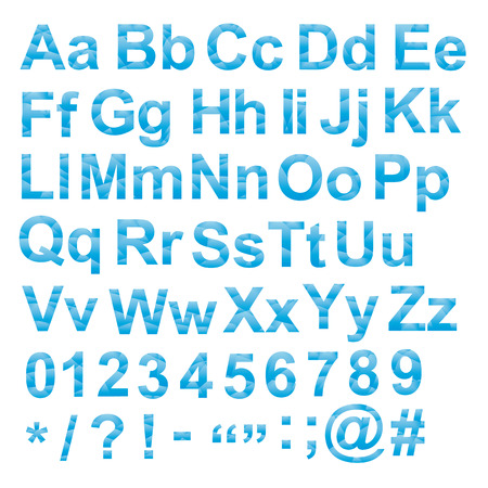 Vector Alphabet set, unusual gradient blue color, with letters numbers and signs, geometric design