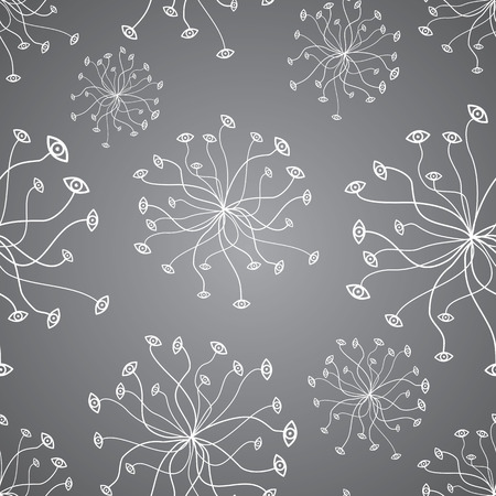 vector background, unusual seamless pattern with  gray and white floral elements, geometric design, vector illustration