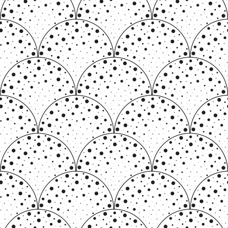 vector background, unusual seamless pattern with  black and white pointsl elements, geometric design, vector illustration Ilustracja