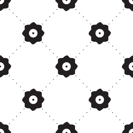 vector background, unusual seamless pattern with  black and white floral elements, geometric design, vector illustration