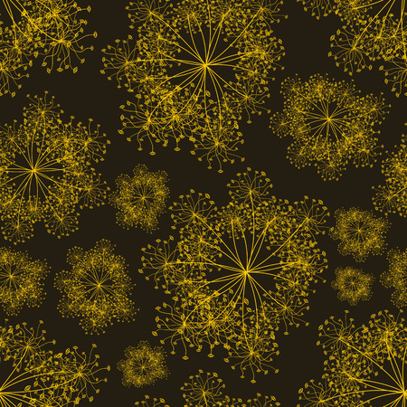 vector background, unusual seamless pattern with  yellow floral elements, geometric design, vector illustration Vettoriali