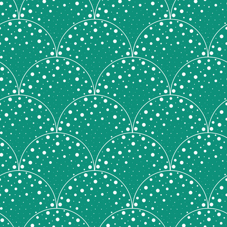 vector background, unusual seamless pattern with  turquoise wave and point elements, geometric design, vector illustration Ilustracja