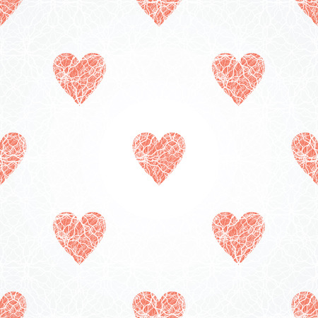 vector background, unusual seamless pattern with  red and white hearts, geometric design, Valentine's day, vector illustration