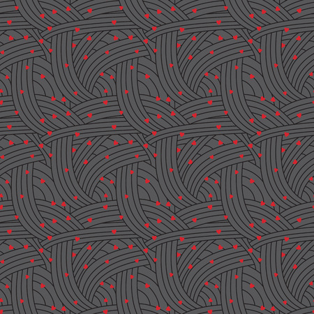 vector background, unusual seamless pattern with  black elements and red hearts, geometric design, Valentine's day, vector illustration