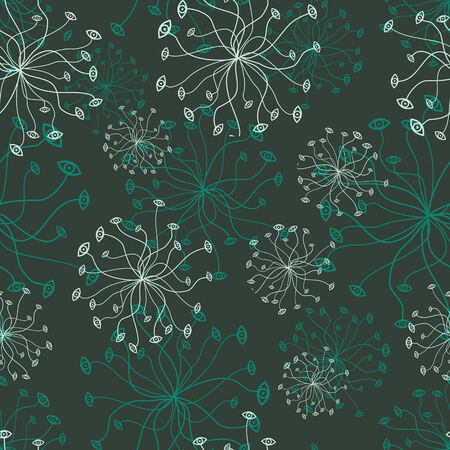 vector background, unusual seamless pattern with  dark turquoise elements, geometric design, vector illustration Ilustracja