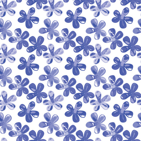vector background, unusual seamless pattern with blue flowers elements, geometric design, vector illustration