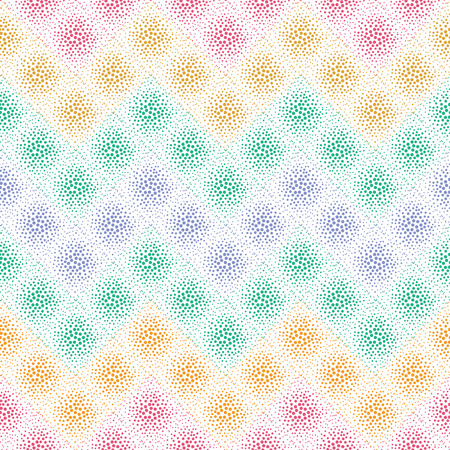 vector background, unusual seamless pattern with  red; green; violet; blue; yellow elements, geometric design, vector illustration Illustration