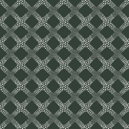 vector background, unusual seamless pattern with dark green and white circle elements, geometric design, vector illustration