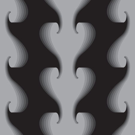 vector background, unusual seamless pattern with  black and gray wave elements, geometric design, vector illustration