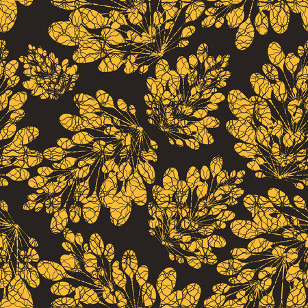 vector background, unusual seamless pattern with  black and yellow floral elements, geometric design, vector illustration