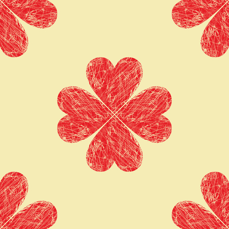 vector background, unusual seamless pattern with  red hearts, geometric design, vector illustration Vettoriali