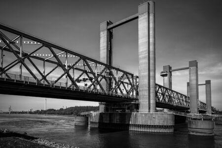 bridge in Spijkenisse, south Holland, black and white photo