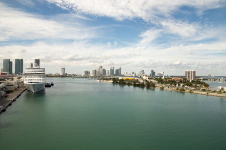 Leaving port of miami on a cruise ship