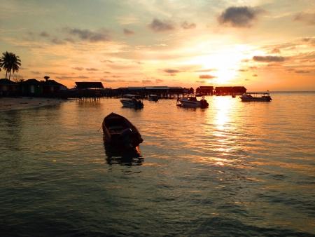 mabul: beautiful sunset at mabul island Sabah