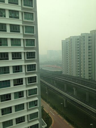 hdb: A hazy day in Singapore  Stock Photo