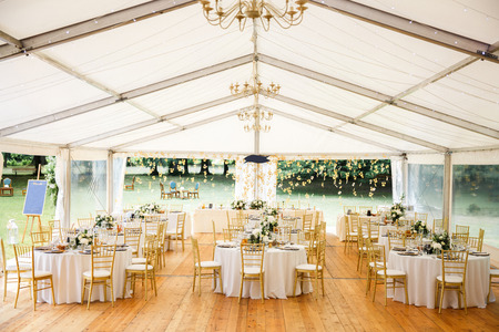 Elegant banquet hall for a wedding party.