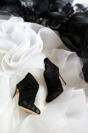 Black wedding shoes and wedding dress