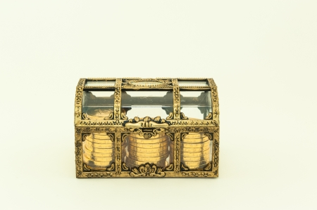 Treasure chest with coins inside