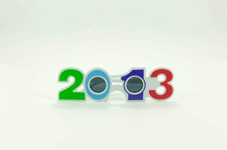 Beautiful colorful glasses is the year 2013  Stock Photo