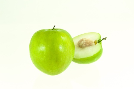 The jujube full and half on white background Stock Photo - 17312352