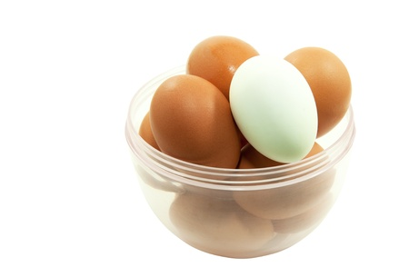 Chicken and duck eggs Stock Photo