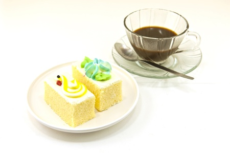 filming point of view: Cup of coffee and cake Stock Photo