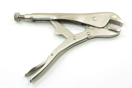 vise grip: pliers on white background