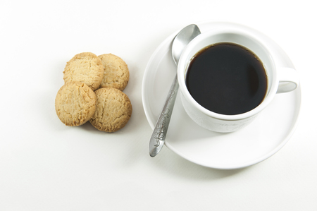 filming point of view: Black coffee and cookies Stock Photo