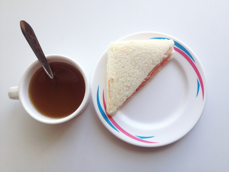 filming point of view: Hot tea and snacks are sandwiches to eat for breakfast. Lunch or dinner Stock Photo