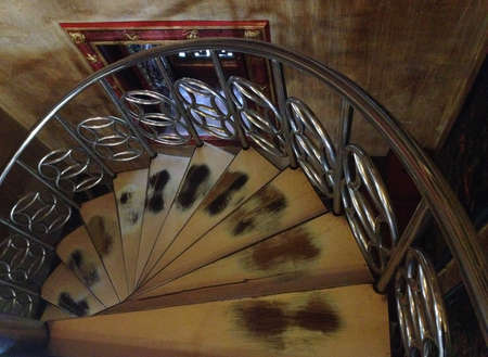 Spiral staircase made of old wood is beautiful art Stock Photo