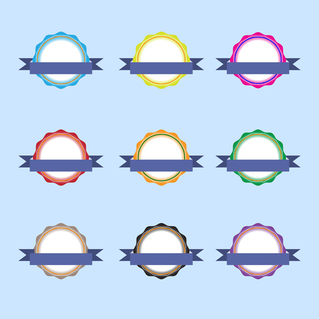 Label icon set is painted with a beautiful ribbon Vector